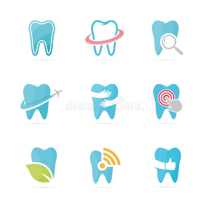 Set of tooth logo combination. Dental and oral symbol or icon. Unique clinic and medical logotype design template. vector illustration