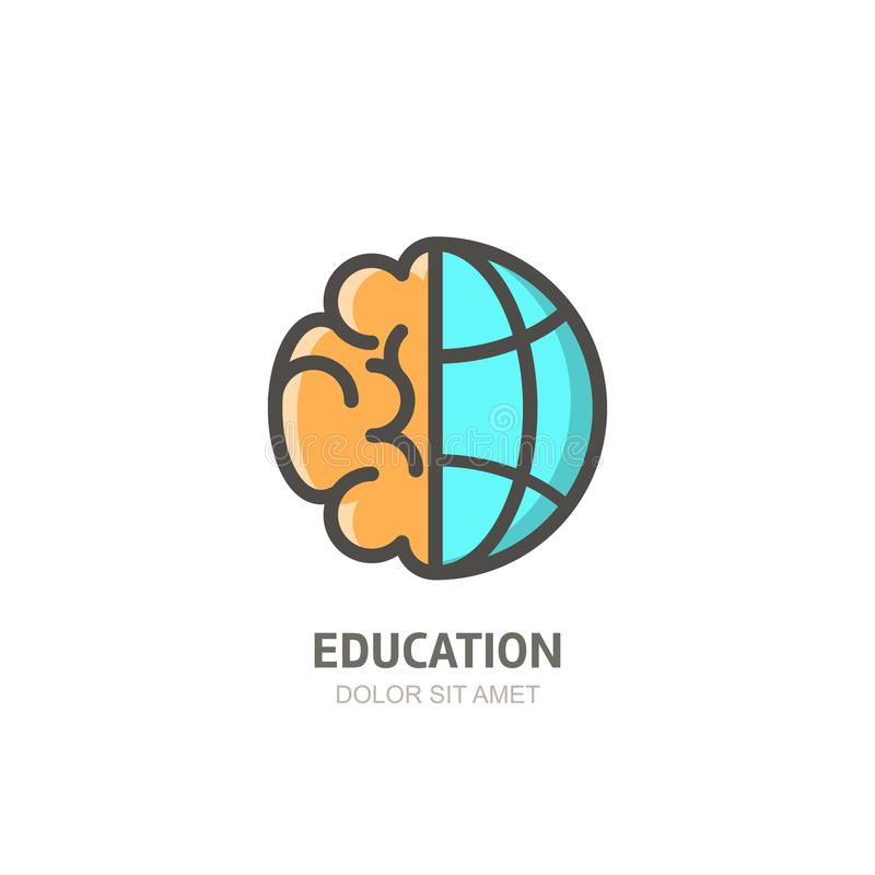 Vector logo icon with brain and globe. Flat linear illustration. Design concept for business, education, creativity. stock illustration