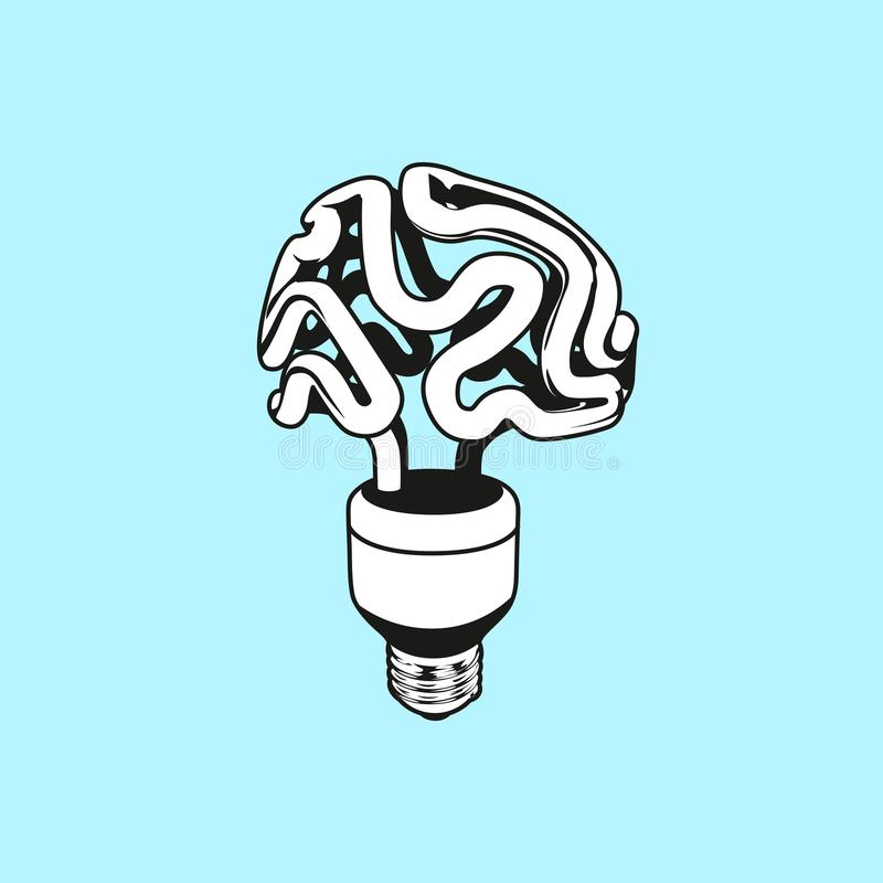 Vector logo icon, emblem with brain and light bulb. Abstract flat linear illustration. Design concept for start up, business stock illustration