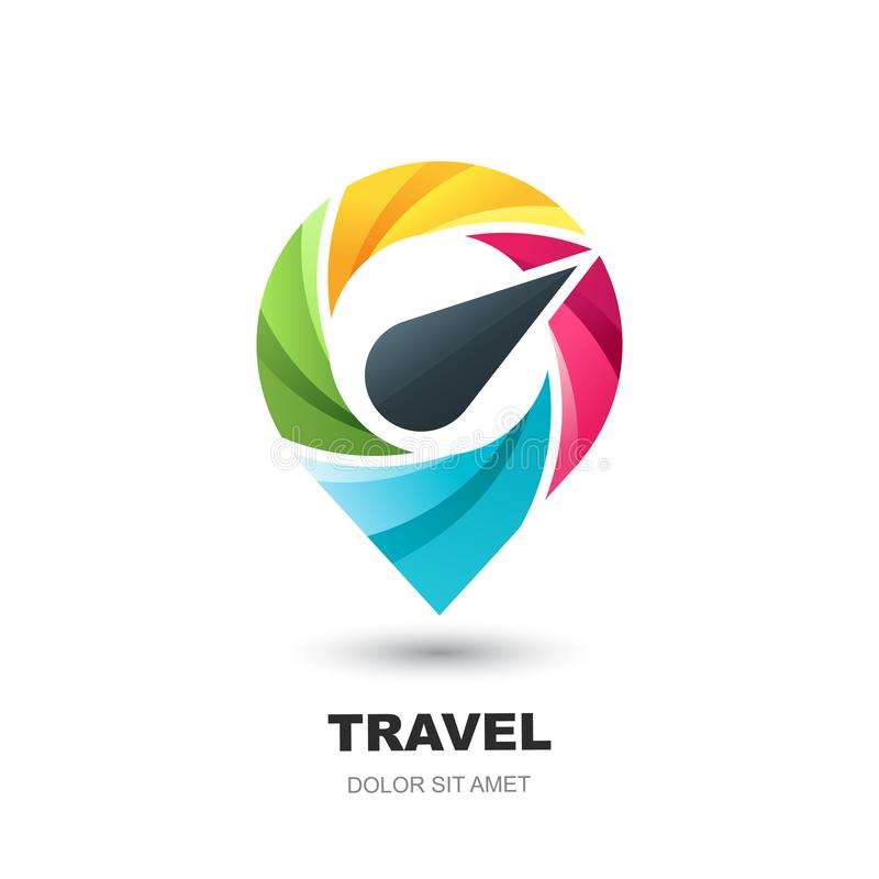 Vector logo icon with compass pin map. Geo point location marker. Concept for vacation, travel and tourism business. Vector logo icon or emblem design template stock illustration