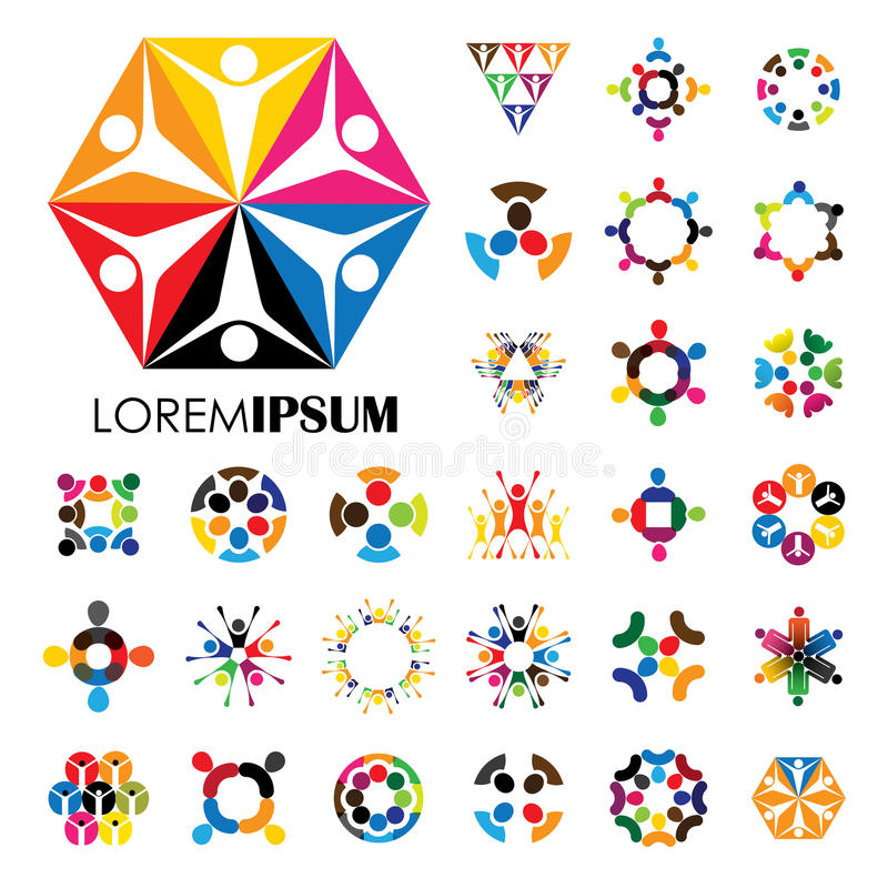 Vector logo icons of people together - sign of unity, partnership. This also represents community, engagement & interaction, teamwork & team, children playing royalty free illustration
