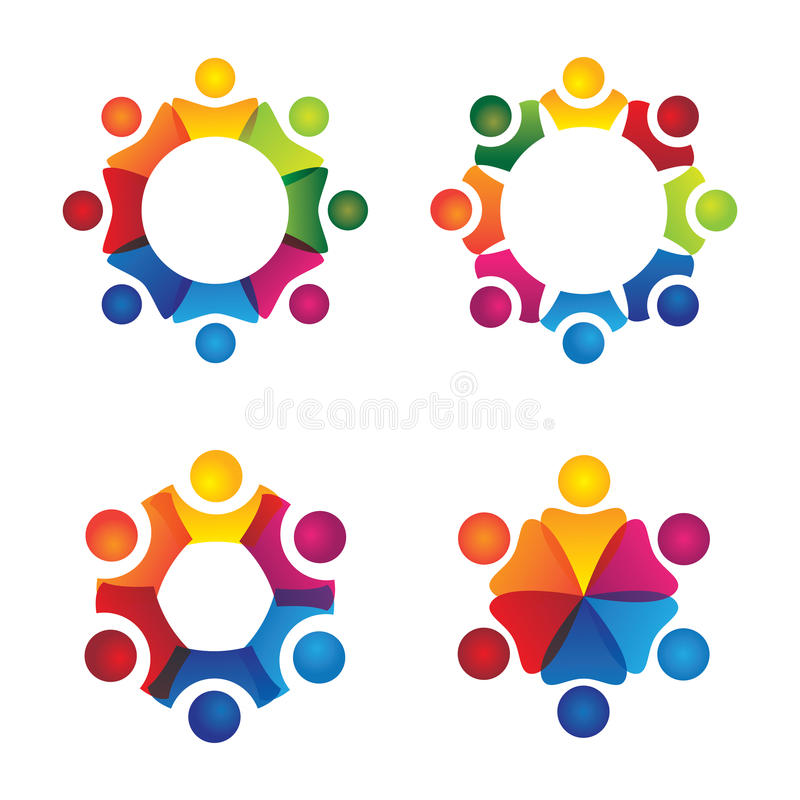 Vector logo icons of people together - sign of unity, partnership, leadership, community. Vector logo icons of people together - sign of unity, partnership & vector illustration