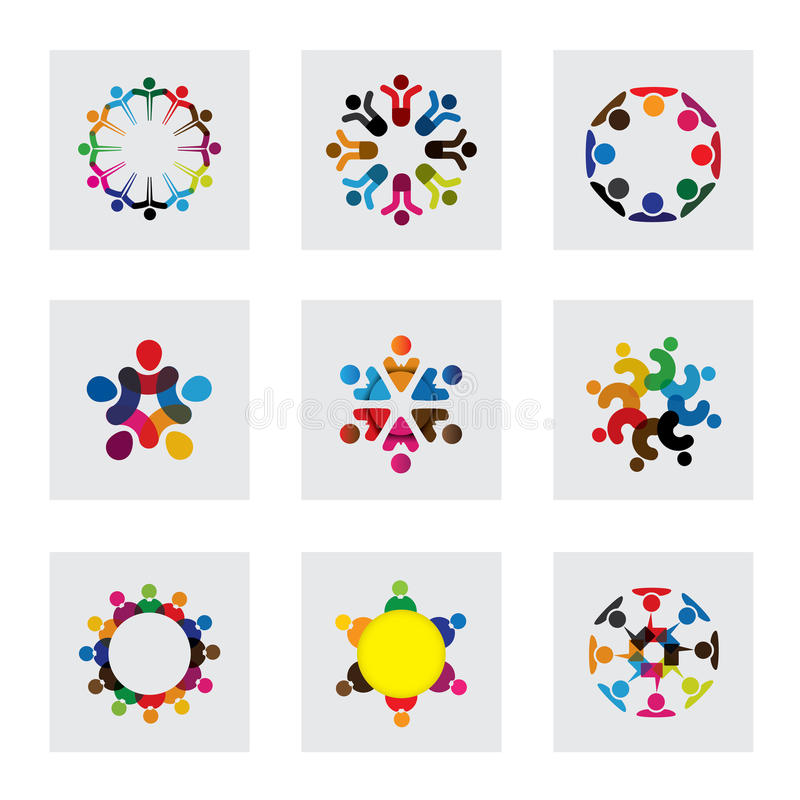 Vector logo icons of people together - sign of unity vector illustration