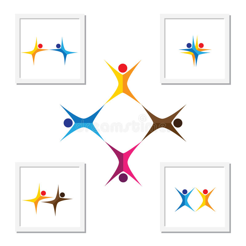 Vector logo icons of people together - sign of unity, partnership. Leadership, community, engagement, interaction, teamwork & team, aerobics & yoga, kids vector illustration