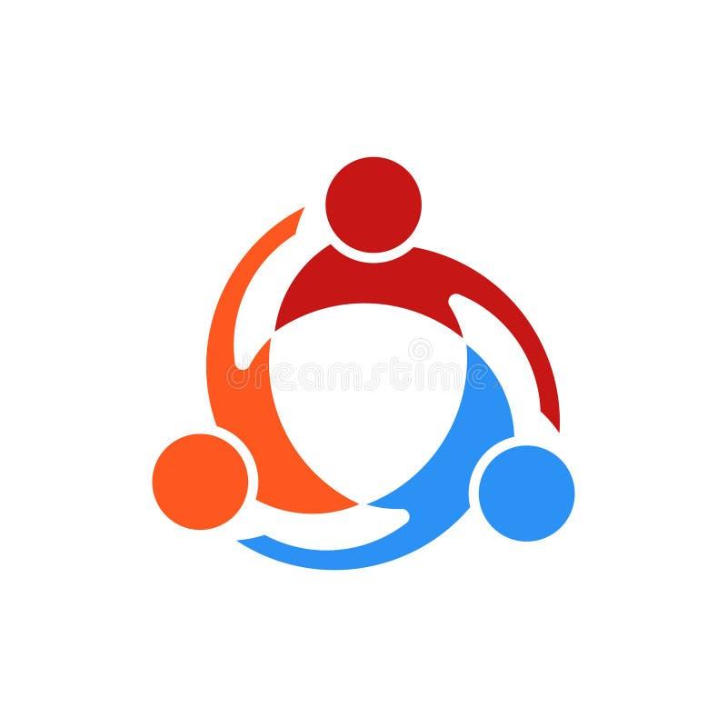 Vector Logo Illustration del remolino de tres personas stock de ilustración