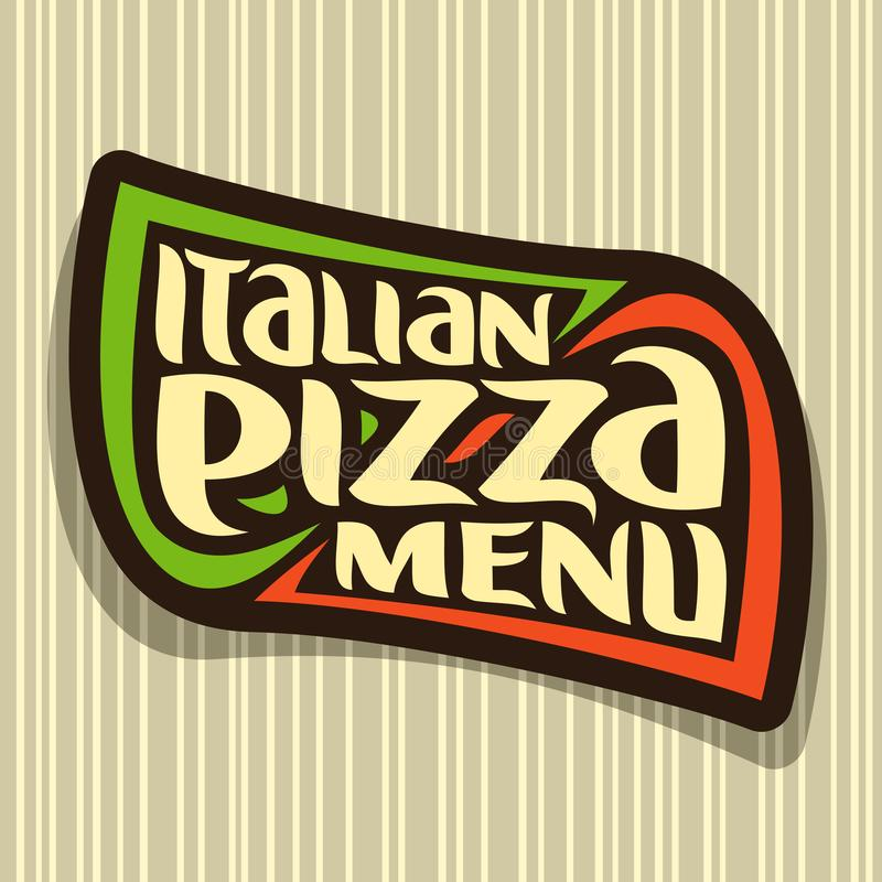 Vector logo for Italian Pizza. Design signboard with colors flag of Italy, label with original font for title text italian pizza menu on seamless pattern vector illustration