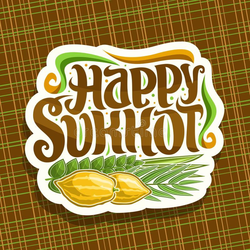 Vector logo for jewish holiday Sukkot. Cut paper sign with four species of festive food - ripe citrus etrog, palm branch, arava willow and hadas myrtle stock illustration