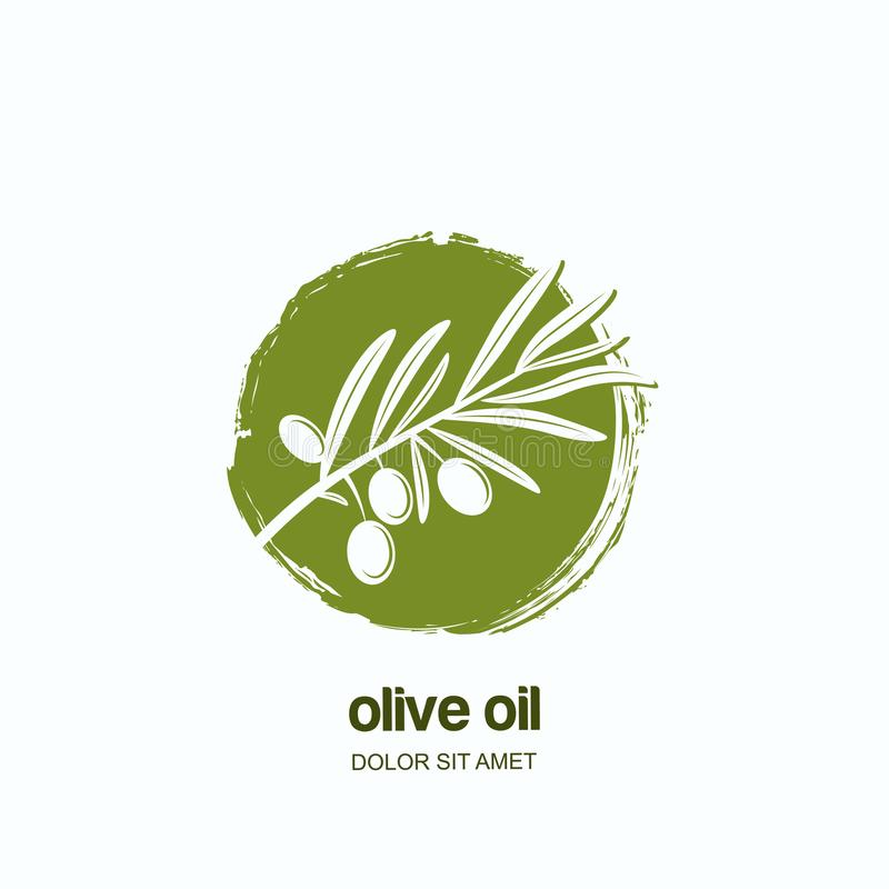 Vector logo, label or emblem with green olive branch. Concept for agriculture, olive oil and cosmetics package. stock illustration