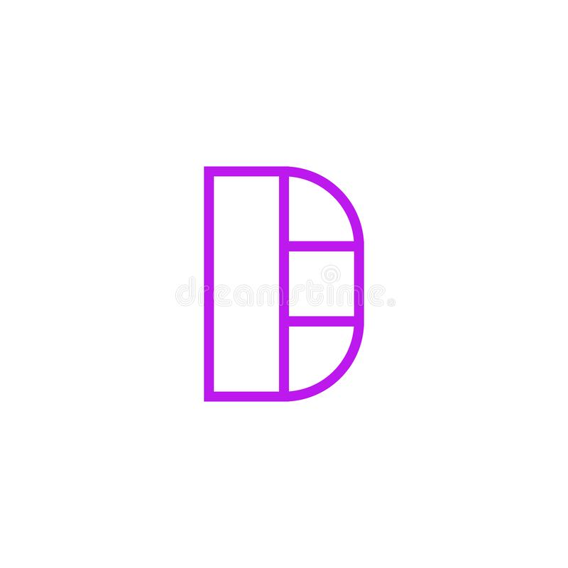 Vector Logo Letter Pink Line D stock de ilustración