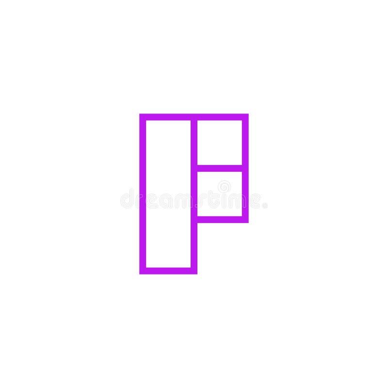 Vector Logo Letter Pink Line F ilustración del vector