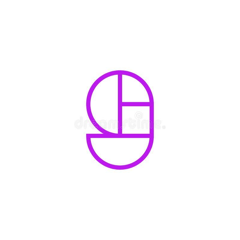 Vector Logo Letter Pink Line G ilustración del vector
