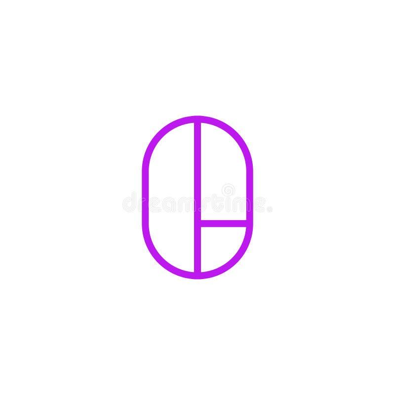 Vector Logo Letter Pink Line O stock de ilustración