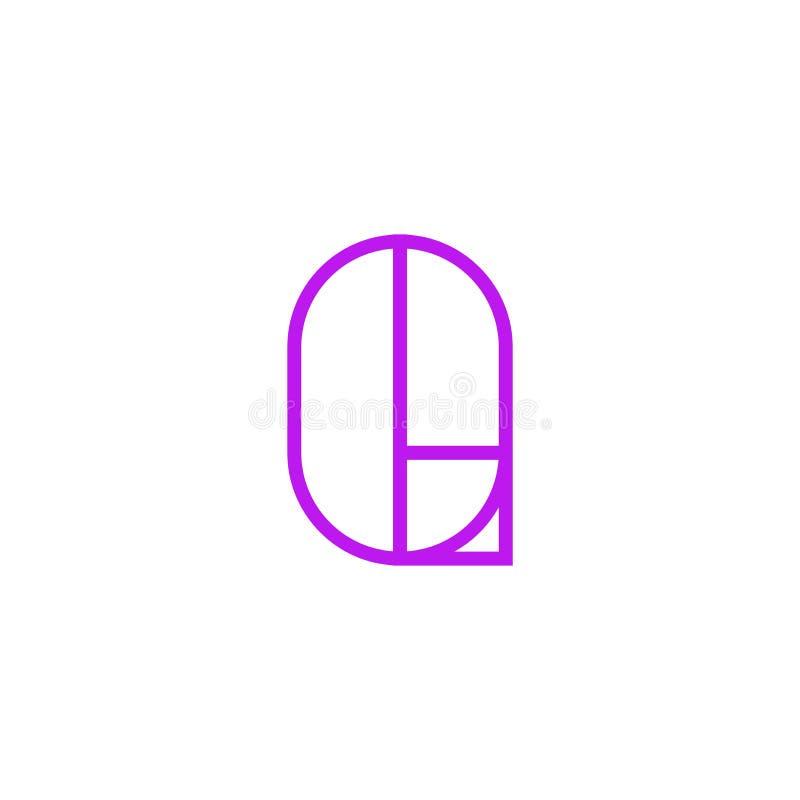 Vector Logo Letter Pink Line Q stock de ilustración