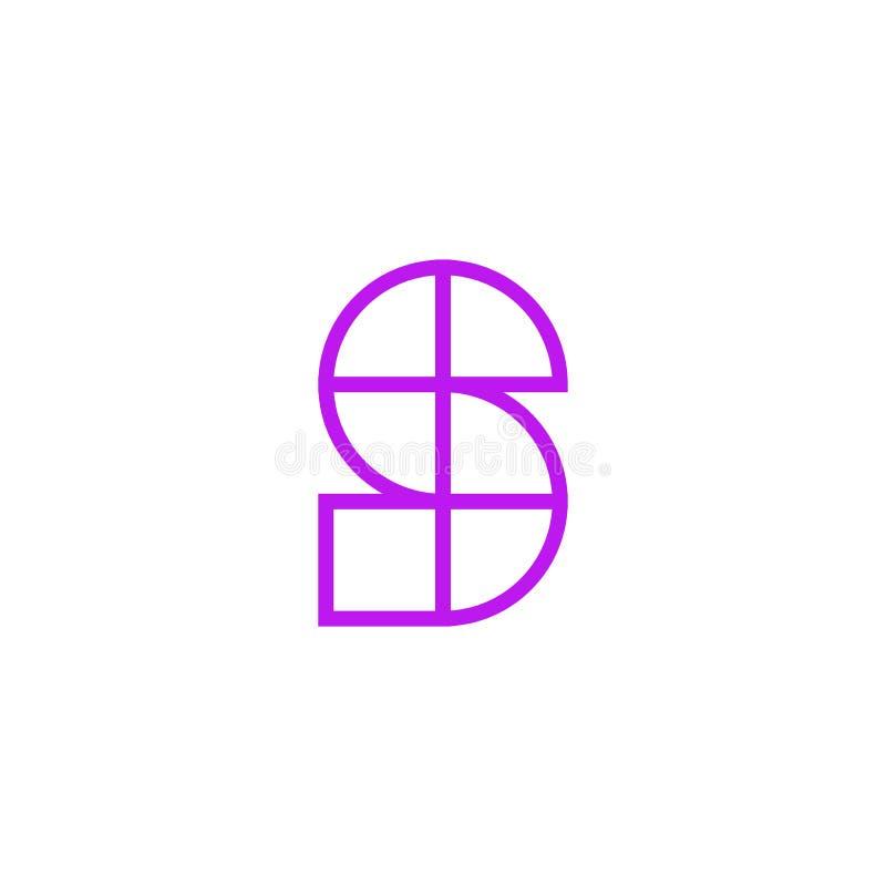 Vector Logo Letter Pink Line S ilustración del vector