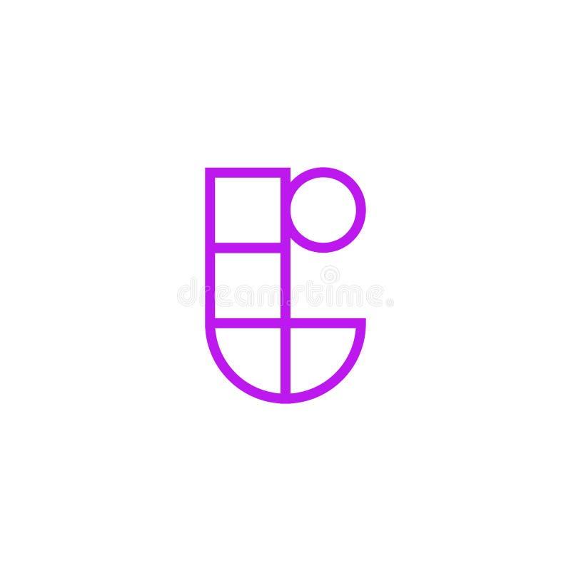Vector Logo Letter Pink Line T stock de ilustración