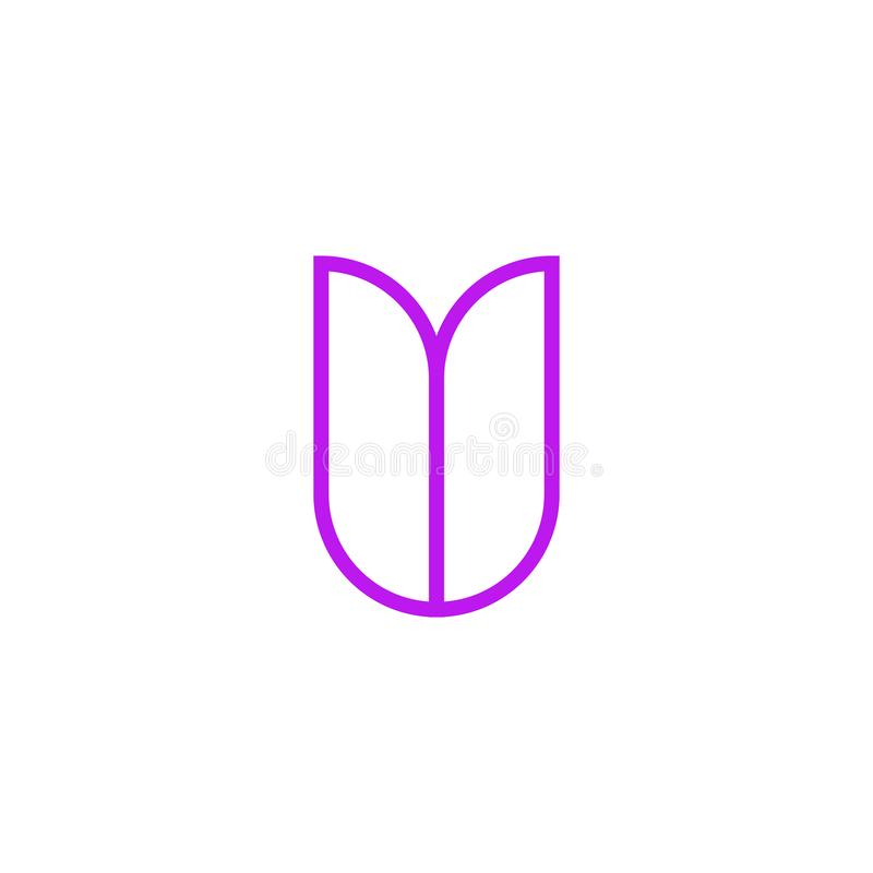 Vector Logo Letter Pink Line V stock de ilustración