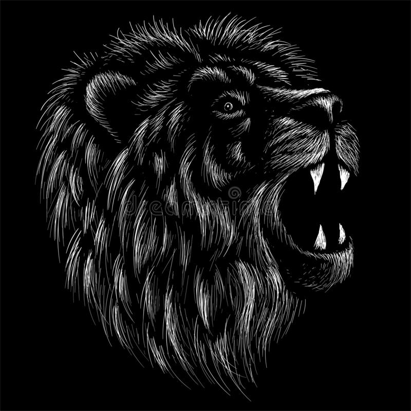 The Vector logo lion for tattoo or T-shirt print design or outwear.  Hunting style lions background. This drawing would be nice to. Make on the black fabric or stock images