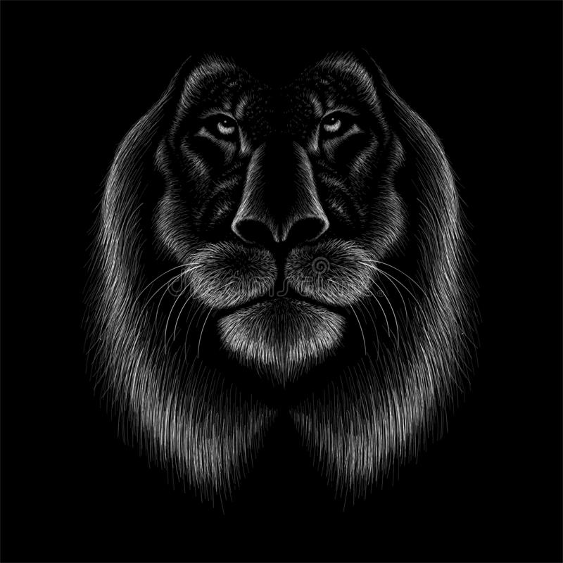 The Vector logo lion for tattoo or T-shirt print design or outwear.  Hunting style lions background. This drawing would be nice to make on the black fabric or stock photos