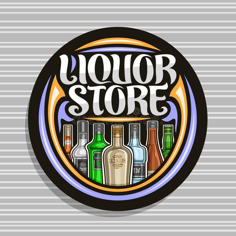 Vector logo for Liquor Store. Black round sign board for department in hypermarket with 7 variety cartoon bottles of hard alcohol or distilled drinks, original royalty free illustration