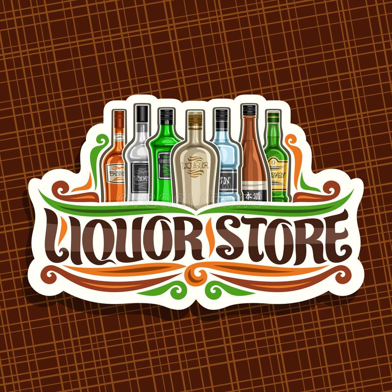 Vector logo for Liquor Store. White decorative sign board for department in hypermarket with 7 variety bottles of hard alcohol or distilled drinks, original stock illustration