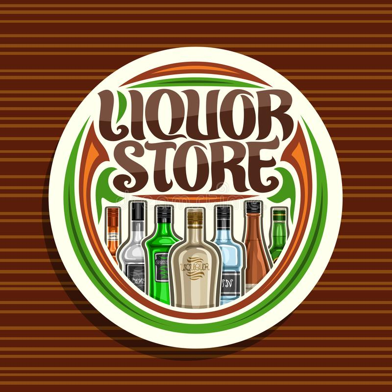 Vector logo for Liquor Store. White round sign board for department in hypermarket with 7 variety cartoon bottles of hard alcohol or distilled drinks, original royalty free illustration