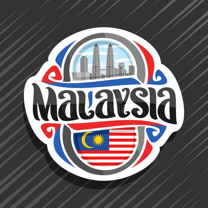 Vector logo for Malaysia. Country, fridge magnet with malaysian state flag, original brush typeface for word malaysia and national malaysian symbol - Petronas stock illustration