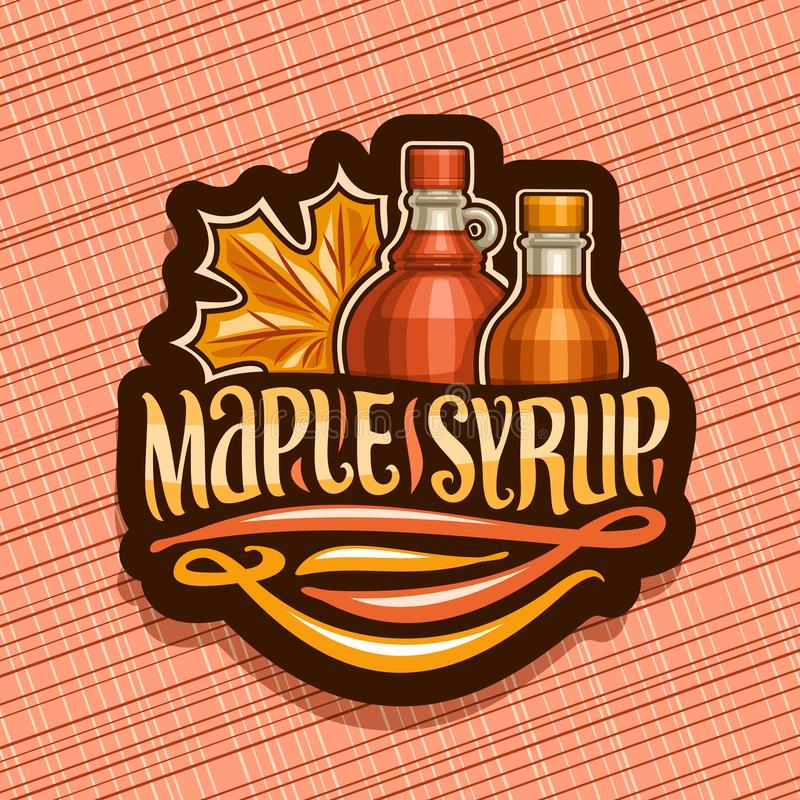 Vector logo for Maple Syrup. Black decorative tag with 2 different bottles with sweet syrup and maple leaf, original brush lettering for words maple syrup stock illustration