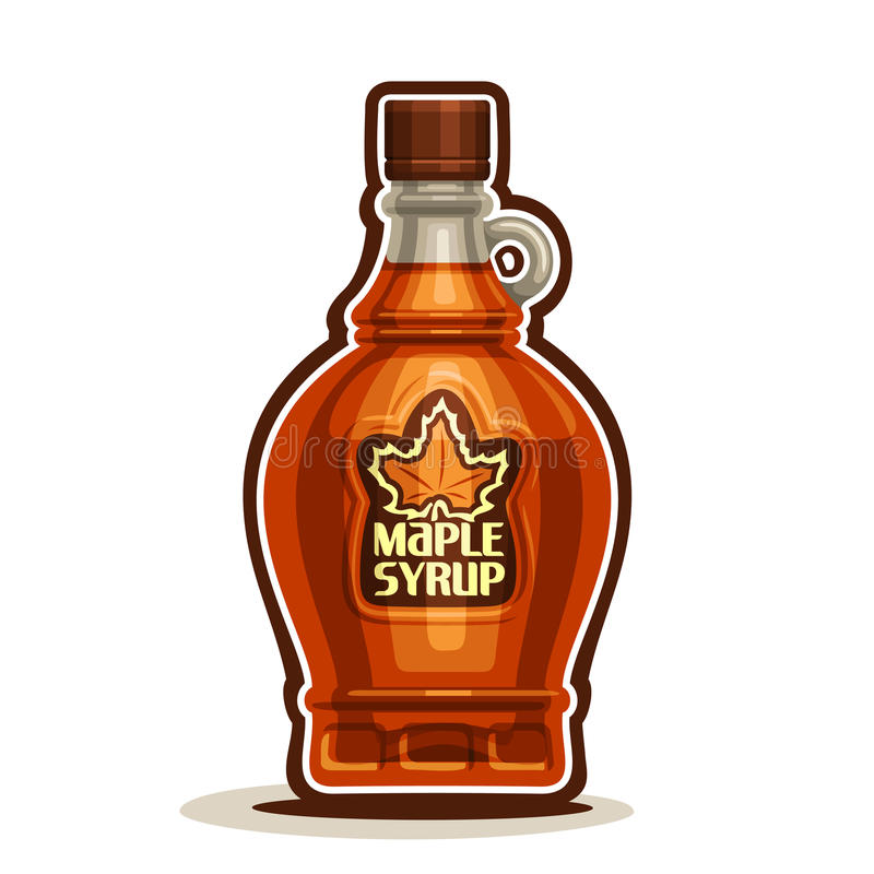 Vector logo Maple Syrup Bottle. Cartoon cruet sweet maple nectar with cap, souvenir glass bottle canadian syrup with leaf on label, on white background royalty free illustration