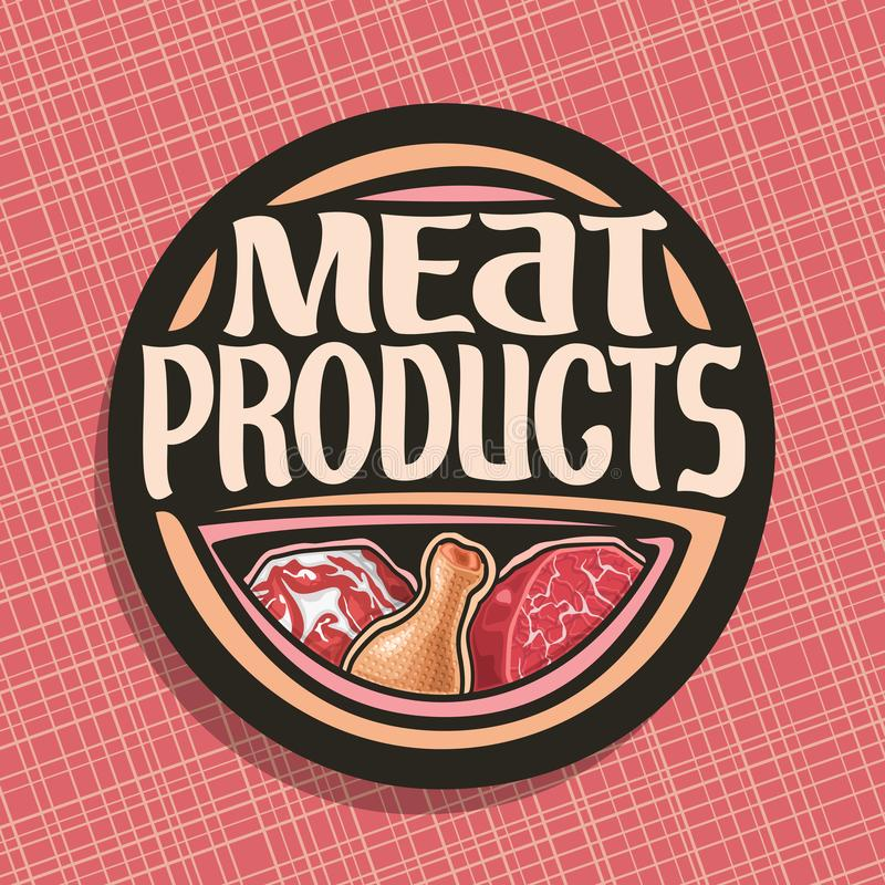 Vector logo for Meat. Chop slice of fat pork, uncooked chicken drumstick and cut piece of raw beef meat, original brush typeface for words meat products, black vector illustration