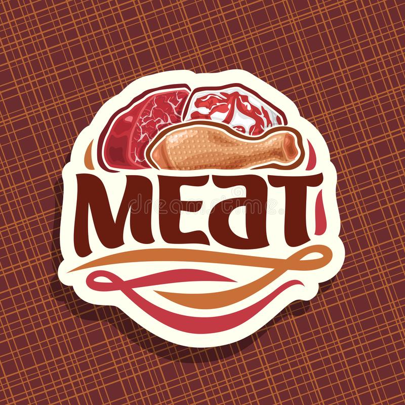 Vector logo for Meat. Sliced piece of raw marble beef, chop slice of fat pork meat and uncooked chicken drumstick, original brush typeface for word meat, white royalty free illustration