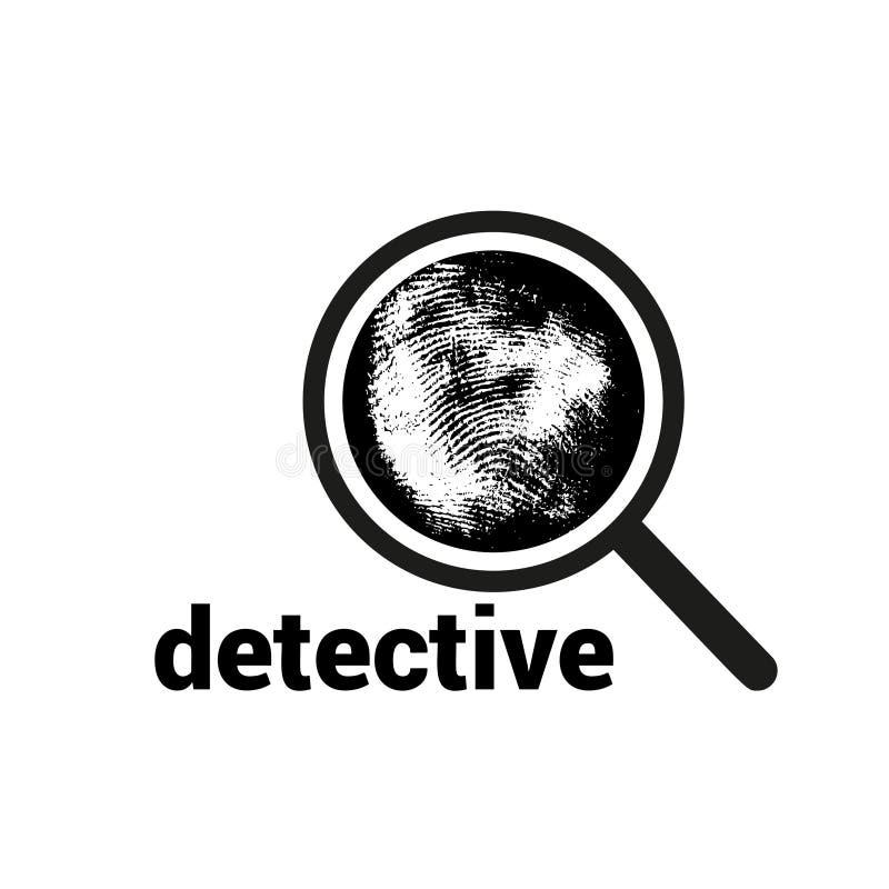 Vector Logo mit Vergrößerungsglas, Fingerabdruck und Aufschrift Untersuchung durch Fingerabdruckvergrößerungsglas, Verbrechen Lup lizenzfreie abbildung