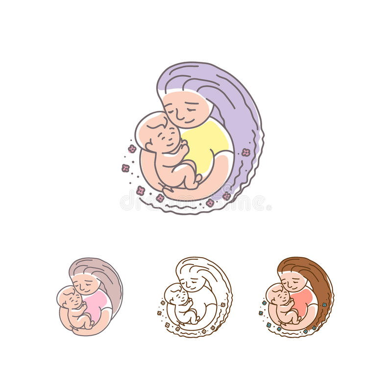 Vector logo - mother with baby. Happy Mothers Day. vector illustration