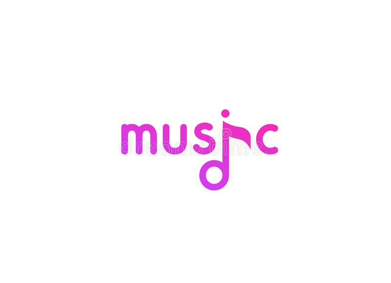 Vector violet logo in flat style for music project, studio, web site, radio stock illustration