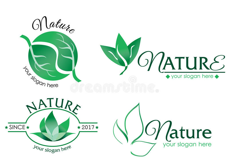 Vector logo nature 2. A collection of vector logos with nature theme. Editable with Adobe Illustrator. The logo consist of leaf images stock illustration
