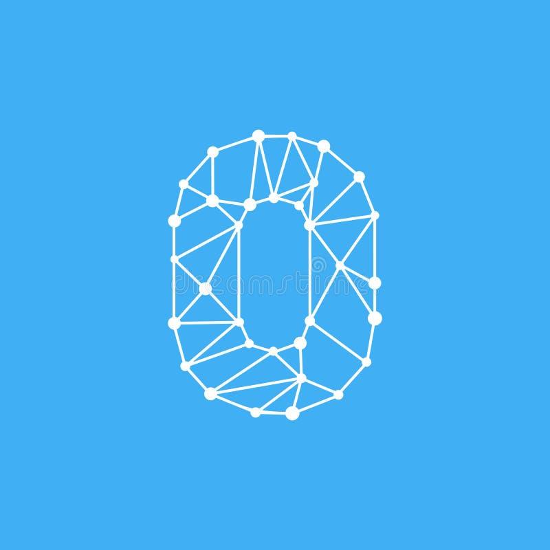 Vector Logo Number 0 Dots Lines stock de ilustración
