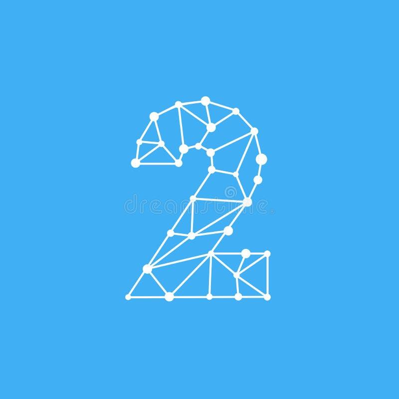 Vector Logo Number 2 Dots Lines ilustración del vector
