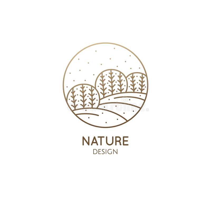 Free Vector Logo Of Nature In Linear Style. Outline Icon Of Winter Landscape With Trees,sun,fields,snow - Business Emblems Stock Photo - 175150620