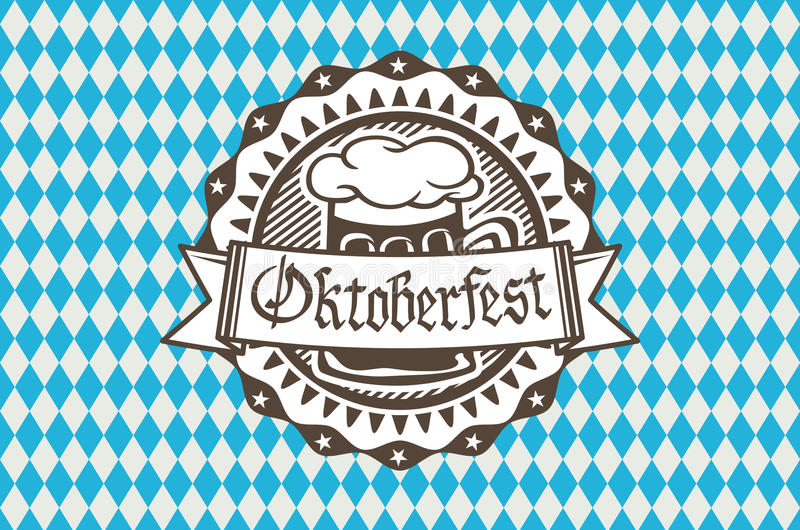 Vector logo for Oktoberfest in the pub or bar during the fest, beer mug with foam filled to the brim royalty free illustration