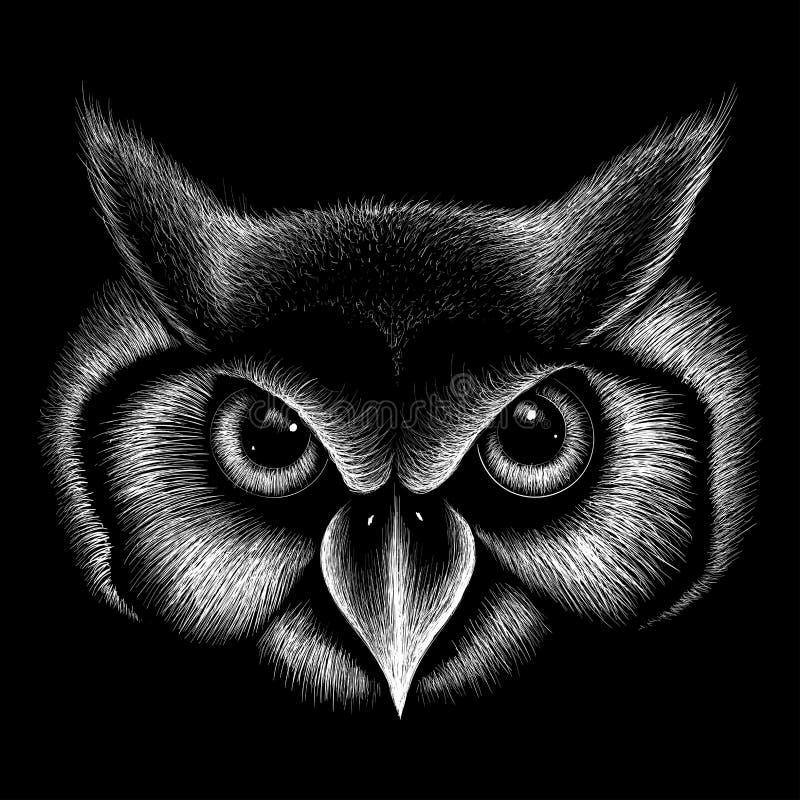 The Vector logo owl for T-shirt design. Hunting style owl background. stock illustration