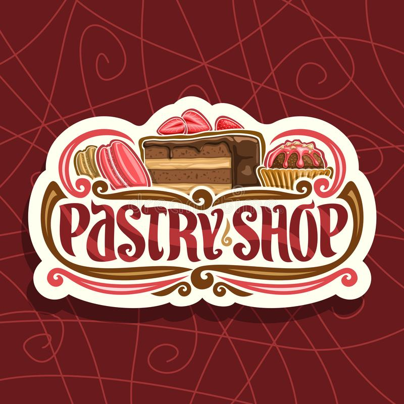 Vector logo for Pastry Shop. Cut paper signage with pink french macaroon, slice of chocolate cake covered glaze with strawberry and cocoa dessert in waffle cup vector illustration