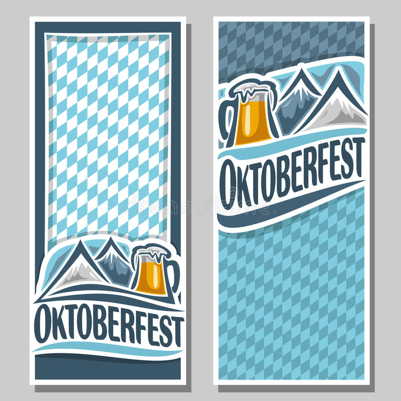 Vector logo pattern oktoberfest for text. Vector ticket invitation oktoberfest, 2 isolated flat vertical banner: pint beer mug with lager, Alps mountains royalty free illustration