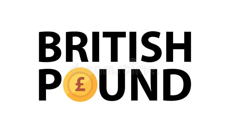 Vector logo with phrase - British Pound and golden coin vector illustration