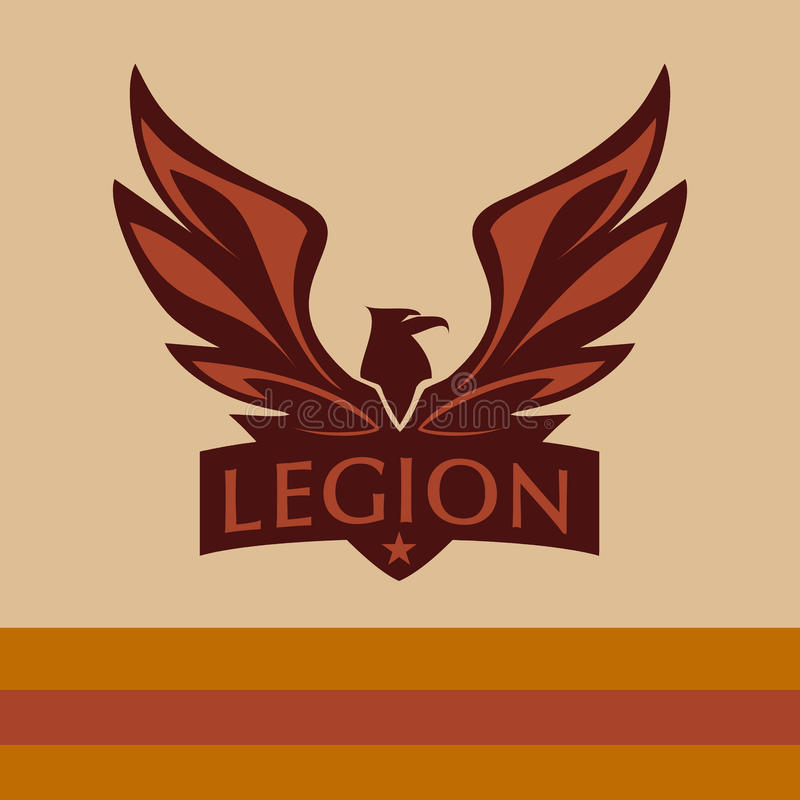 Vector logo with a picture of an eagle. Legion vector illustration