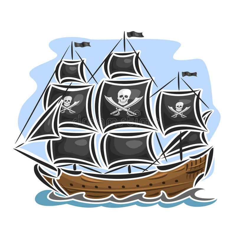 Vector logo pirate sailing ship. Sailboat sailer vessel sailing barque craft frigate caravel galleon schooner, floating blue sea ocean waves. Cartoon pirate stock illustration