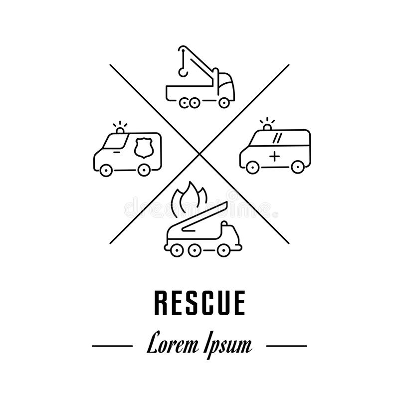 Vector Line Banner Rescue. royalty free illustration
