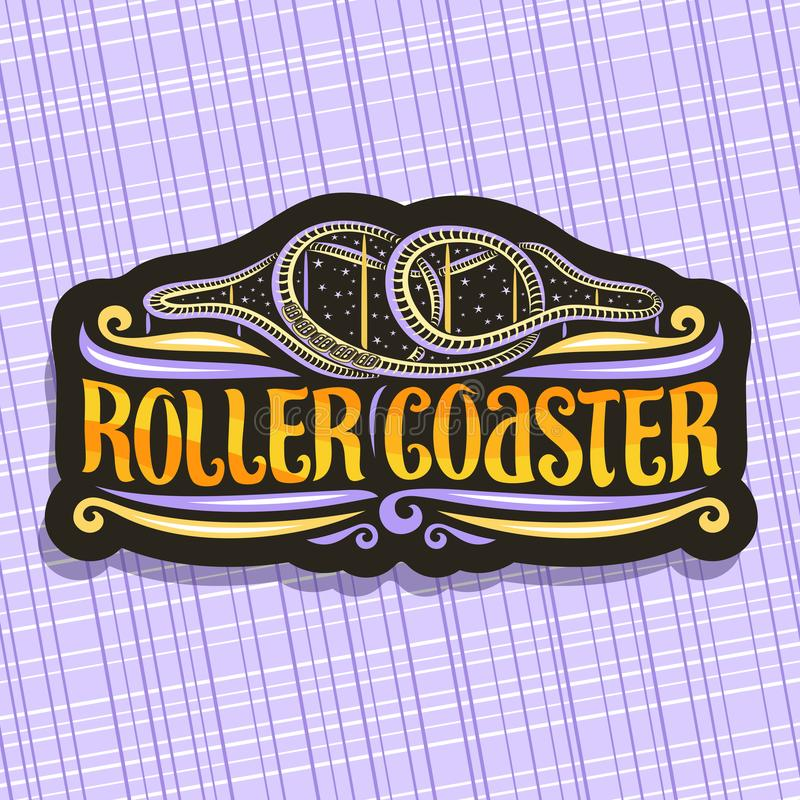 Vector logo for Roller Coaster. Black signage with cartoon train go up in loop of twist rollercoaster in amusement park, original brush typeface for words stock illustration