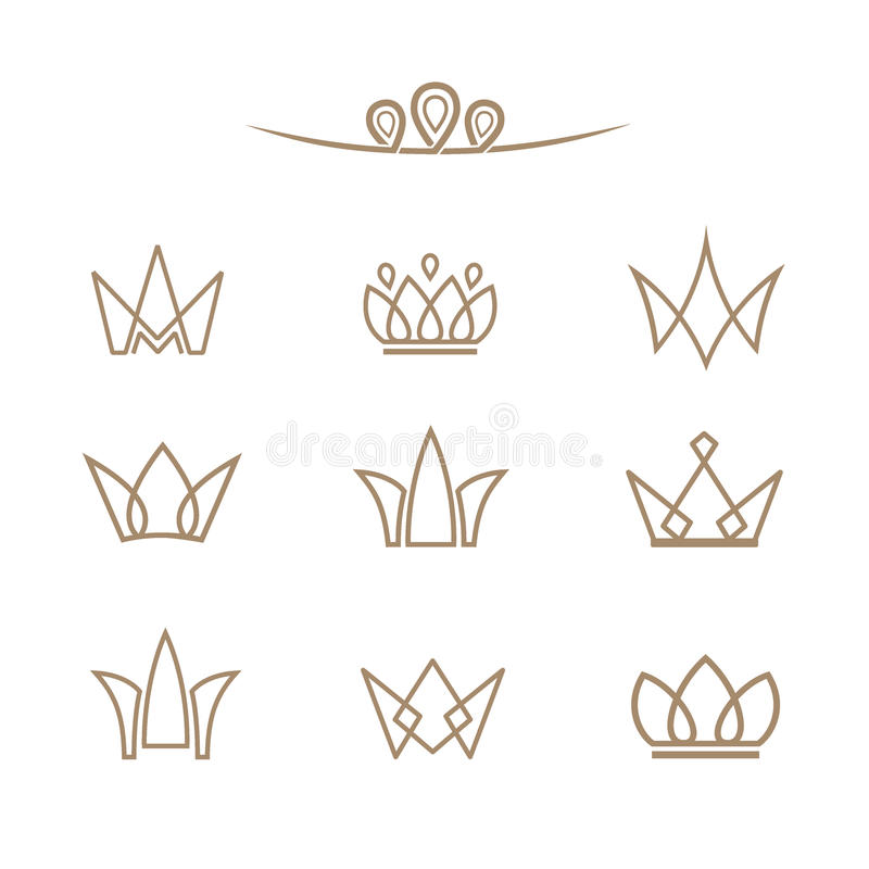 Vector logo set. Crowns in a line style. royalty free illustration