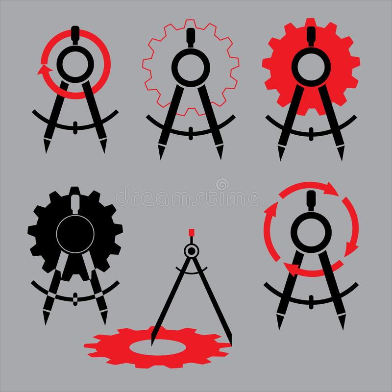 Vector logo set of gear, arrows and drawing compass icons royalty free illustration