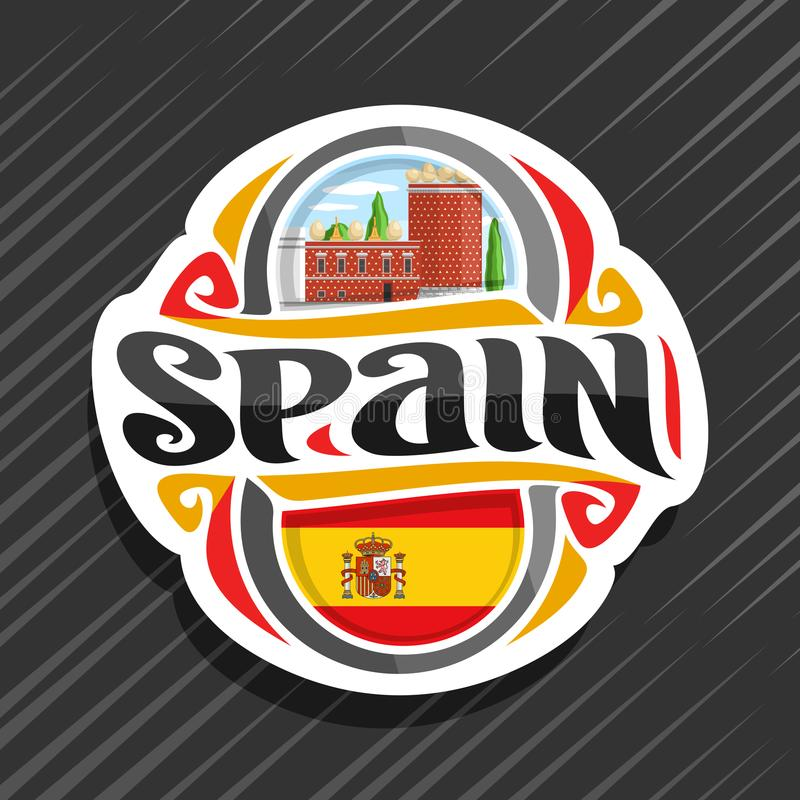 Vector logo for Spain. Country, fridge magnet with spanish flag, original brush typeface for word spain, spanish symbol - museum and theatre of Salvador Dali in vector illustration