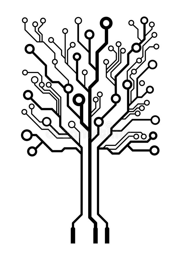 vector square circuit board tree stock vector